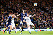 Scotland midfielder Scott McTominay (6) (Manchester United) beats Andrey Semenov of Russia (5) (Akhmat Grozny) to the header during the UEFA European 2020 Qualifier match between Scotland and Russia at Hampden Park, Glasgow, United Kingdom on 6 September 2019.