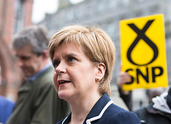 The First Minister, Nicola Sturgeon, campaigning in Leith by campaigning that the SNP will be a voice for young people.