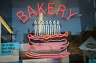 Neon sign in a bakery in Los Angeles.
