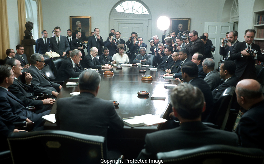 A 25.1 MG IMAGE OF:..President Johnson meets wioth Black leaders during the riots in Washington, DC after the assassination of Martin Luther King jr....Photograph by Dennis Brack B 7