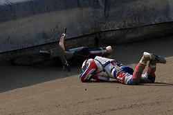 Denis Stojs of Slovenia crashed at Speedway Slovenian National Championships race, on April 17, 2010, in Sportni park Ilirija, Ljubljana, Slovenia. (Photo by Vid Ponikvar / Sportida)