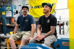 Cameron Brewer (L) and Roland Sands at Roland Sands Design (RSD) retail and office location, Los Alamitos, CA. Monday June 25, 2018. Photography ©2018 Michael Lichter.