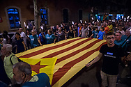 The parade approaching El Fossar de les Moreres where the commemoration is held.  During the parade, held the day before the Catalan national day, Catalan separatist protests asking freedom for politicians arrested after the unilateral referendum held almost a year ago. Barcellona, Spain, September 10, 2018. Federico Scoppa