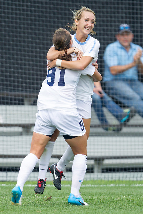 September 02, 2012:  North Carolina forward Summer Green (6) and North Carolina midfielder Maria Lubrano (91) celebrate the game winning goal by Lubrano during NCAA Soccer match between the Notre Dame Fighting Irish and the North Carolina Tar Heels at Alumni Stadium in South Bend, Indiana.  North Carolina defeated Notre Dame 1-0.