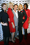 Richard Tyler, the famous stylist, posing with models, before entering the party in occasion of the Delta Jet-Set Summer, in front of Henri Bardel, on Wednesday, June 14, 2006. Delta Jet-Set Summer is a two weeks partnership taking place June 13-26 at Henri Bardel that includes in-store activities and events designed to celebrate Delta's unprecedented international expansion.