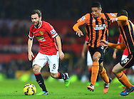 Hull's Curtis Davies chases Juan Mata of Manchester United - Manchester United vs. Hull City - Barclay's Premier League - Old Trafford - Manchester - 29/11/2014 Pic Philip Oldham/Sportimage