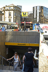 Newcastle Metro: Monument station in central Newcastle next to Eldon Square shopping centre UK