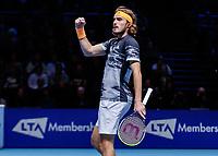 Tennis - 2019 Nitto ATP Finals at The O2 - Day Seven<br /> <br /> Semi Finals: Stefanos Tsitsipas (Greece) Vs. Roger Federer (Switzerland) <br /> <br /> Stefanos Tsitsipas (Greece) celebrates making the break in serve <br /> <br /> COLORSPORT/DANIEL BEARHAM<br /> <br /> COLORSPORT/DANIEL BEARHAM