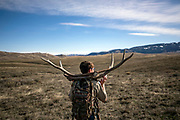 Joey Selleck hauls antlers on his back as he scans rolling hills for more during the annual Boy Scout antler pickup on the National Elk Refuge in Jackson, Wyoming on Saturday, April 27, 2019. Every year, the Boy Scouts are granted special access to lands on the National Elk Refuge not open to the public to gather elk antlers shed during the winter. The antlers are auctioned off a few weeks later with 75 percent of the proceeds given to the National Elk Refuge and 25 percent to the Boy Scouts.