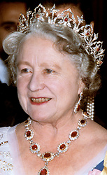 File photo dated 16/11/1978 of the Queen Mother at the Portuguese Embassy wearing The Oriental Circlet Tiara (also known as the Indian Tiara). Princess Eugenie may follow in the footsteps of her mother, Sarah Ferguson, Duchess of York, and wear the York diamond tiara on her wedding day.