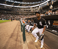 CHICAGO - SEPTEMBER 11:  Eloy Jimenez #74 of the Chicago White Sox runs out onto the field prior to the game against the Minnesota Twins on September 11, 2019 at Guaranteed Rate Field in Chicago, Illinois.  (Photo by Ron Vesely)  Subject:   Eloy Jimenez