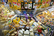 A selection of a cheese and oil at the Central Market in Riga, the capital of Latvia.   Riga's Central Market, established in 1201, is one of Europe's largest and most ancient markets.