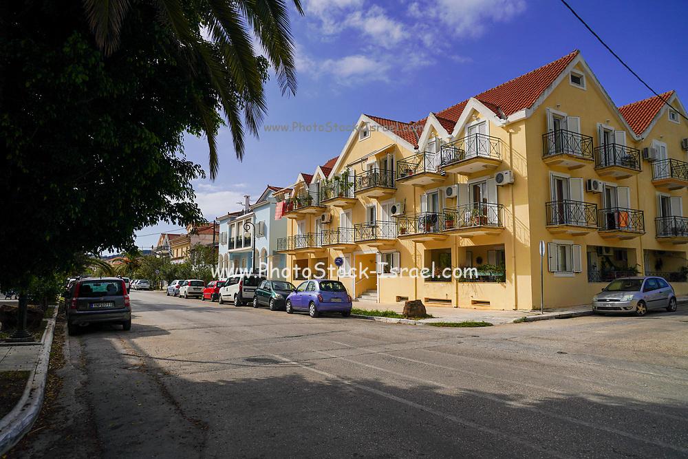 Residential street in Argostoli, Cephalonia, Greece