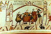 Bayeux Tapestry 1067. William of Normandy (William the Conqueror) told of the death of Edward the Confessor and the crowning of Harold II as king of England.  Sitting on right is William's half-brother Bishop Odo of Bayeux. Textile