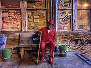 """Clarksdale bluesman, Josh """"Razorblade"""" Stewart at Ground Zero blues club in Clarksdale, Mississippi."""