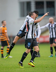 Dunfermline's Louis Longridge (10) cele scoring their goal. Half time : Dunfermline 1 v 1 Alloa Athletic, Irn Bru cup game played 13/10/2018 at Dunfermline's home ground, East End Park.