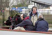 Putney. London.  2004 University Boat Race,  Championships Course, Putney to Mortlake. <br /> BBC Launch, left Gary HERBERT, Matthew PINSENT  Cambridge and Oxford .  [Mandatory Credit Peter SPURRIER]