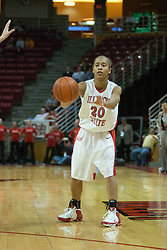 04 February 2006: Tiffany Hudson tosses it in. The Indiana State Sycamores shook the Illinois State Redbirds from the nest with a 75-71 Victory.  There were 3,581 fans on hand, making the audience the  2nd largest women's basketball crowd ever in Redbird Arena on Illinois State University campus in Normal Illinois.