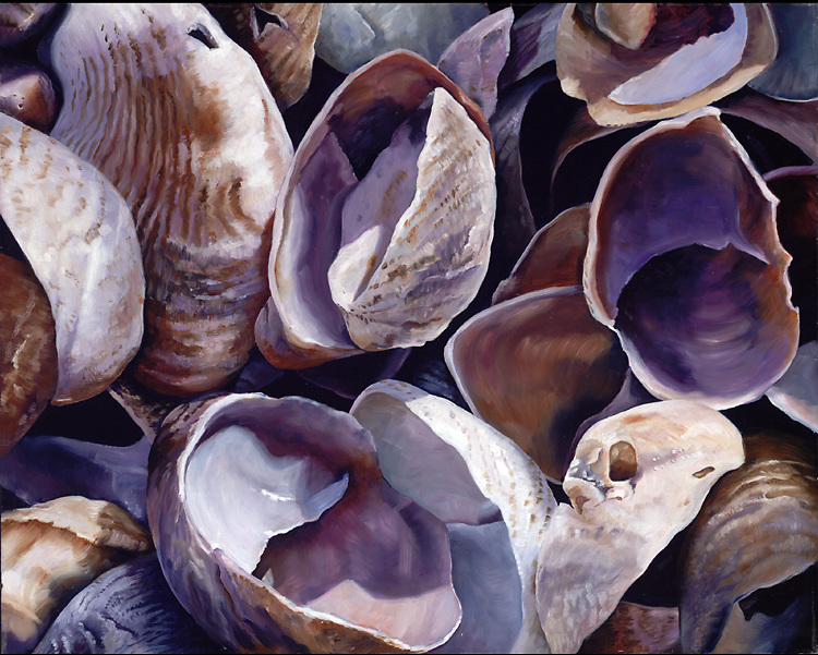 An intense close up view brings an abstract feel to these slipper shells.  Step into this soothing violet world! <br /> 24 x 30, oil on birch panel
