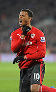 Fraizer Campbell of Cardiff City makes his point.<br /> Barclays Premier League match, Cardiff city v Manchester Utd at the Cardiff city stadium in Cardiff, South Wales on Sunday 24th Nov 2013. pic by Phil Rees, Andrew Orchard sports photography,