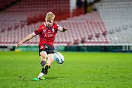 George Barton of Gloucester Rugby kicks a penalty during the Gallagher Premiership Rugby match between Gloucester Rugby and Exeter Chiefs at the Kingsholm Stadium, Gloucester, United Kingdom on 26 March 2021.