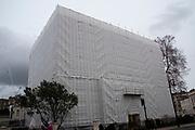 Under refurbishment, a wrapped building in Belgravia, London, United Kingdom.