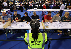 SNP canvassers view ballot papers being counted at the Emirates Arena in Glasgow during the 2017 General Election.