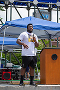 Wilkes-Barre, PA (July 11, 2020) -- Shakir Soto speaks at Black Lives Matter NEPA United Movement event on Wilkes-Barre Public Square.