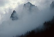 Clouds shroud the Teton Range in Wyoming.