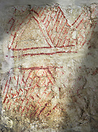 Geometric wall painting circa 6000 BC . Catalhoyuk collection, Konya Archaeological Museum, Turkey .<br /> <br /> (updated 2021) Add photos of Catalhoyuk Antiquities using ADD TO CART button as royalty free download or prints or download from our ALAMY STOCK LIBRARY page at https://www.alamy.com/portfolio/paul-williams-funkystock - Scroll down and type -  Catalhoyuk  - into LOWER search box. (TIP - Refine search by adding a background colour as well).<br /> <br /> Visit our PREHISTORIC PLACES PHOTO COLLECTIONS for more  photos to download or buy as prints https://funkystock.photoshelter.com/gallery-collection/Prehistoric-Neolithic-Sites-Art-Artefacts-Pictures-Photos/C0000tfxw63zrUT4
