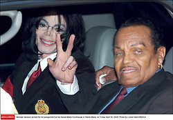 Michael Jackson arrives for his arraignment at the Santa Maria Courthouse in Santa Maria, on Friday April 30, 2004. Photo by Lionel Hahn/ABACA.