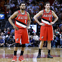 08 March 2011: Portland Trail Blazers point guard Patrick Mills (8) and Portland Trail Blazers shooting guard Rudy Fernandez (5) are seen during the Portland Trail Blazers 105-96 victory over the Miami Heat at the AmericanAirlines Arena, Miami, Florida, USA.