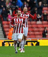 Stoke City/Sunderland Premiership 05.02.11<br />Photo: Tim Parker Fotosports International<br />John Carew Stoke City celebrates his 1st goal for the club with Danny Higginbotham