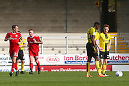 Accrington Stanley forward Billy Kee (29) scores a penalty and celebrates 2-1 during the EFL Sky Bet League 1 match between Burton Albion and Accrington Stanley at the Pirelli Stadium, Burton upon Trent, England on 23 March 2019.