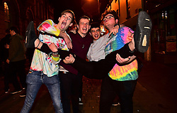 © London News Pictures. 01/01/2017. Aberystwyth, UK. A  group of young men out celebrating the 2017 New Year in Aberystwyth, Wales, UK on January 01, 2017 in the early hours of the morning. Photo credit: Keith Morris/LNP