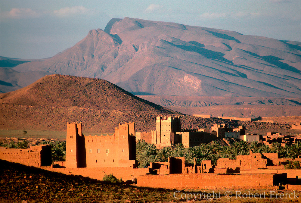 MOROCCO, SAHARA DESERT Kasbahs near Timidert in the Dra River Valley between Ouarzazate and Zagora