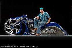 A blue, all metal bagger built by Dustin Maybin of Maybin Concepts in Hendersonville, NC. Photographed by Michael Lichter in Sturgis, SD on August 4 2017. ©2017 Michael Lichter.