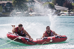 17.07.2019, Sankt Gilgen, AUT, OeSV, Pressetermin Herren Speed Team, Wasserskifahren und Wakesurfen beim Wolfgangsee, im Bild v.l. Christoph Krenn, Vincent Kriechmayr // f.l. Christoph Krenn Vincent Kriechmayr during a press conference of the Austrian Ski Association (OeSV), Mens Speed Team waterskiing and wakesurfing at the Wolfgangsee Sankt Gilgen, Austria on 2019/07/17. EXPA Pictures © 2019, PhotoCredit: EXPA/ Johann Groder