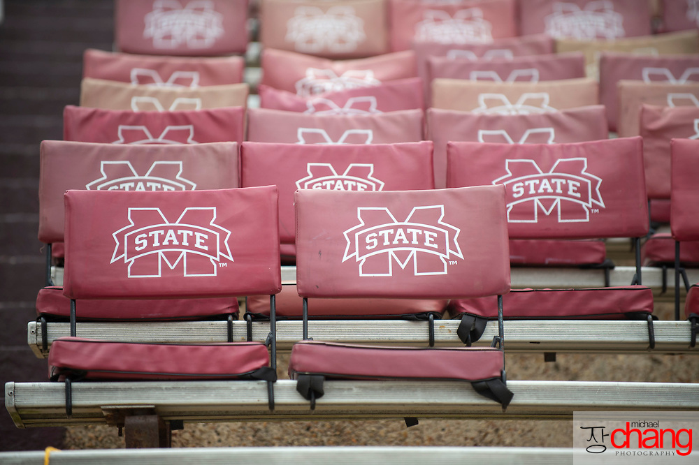 STARKVILLE, MS - SEPTEMBER 21: General view of empty seat-backs prior to the matchup between the Mississippi State Bulldogs and the Kentucky Wildcats at Davis Wade Stadium on September 21, 2019 in Starkville, Mississippi. (Photo by Michael Chang/Getty Images) *** Local Caption ***