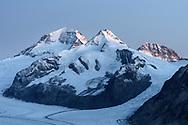 Mount Mönch, Trugberg and Eiger over the Aletsch Glacier, Valais, Switzerland
