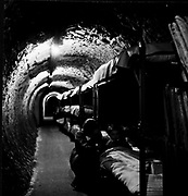 Bunk beds on  in a London underground tunnel. Thousands slept underground during the bombing London during the Second World War.