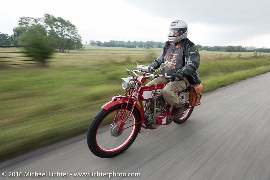 Bob Wooldridge riding his 1913 Sears Dreadnought motorcycle during the Motorcycle Cannonball Race of the Century. Stage-7 from Springfield, MO to Wichita, KS. USA. Friday September 16, 2016. Photography ©2016 Michael Lichter.