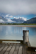View of wooden Glenorchy Pier on the shore of Lake Wakatipu, Glenorchy, South Island, New Zealand