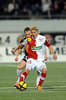 FOOTBALL - FRENCH CHAMPIONSHIP 2010/2011 - L1 - FC LORIENT v STADE BRESTOIS - 29/01/2011 - PHOTO PASCAL ALLEE / DPPI - TOMAS MOKOLA (BREST) / MAXIME BACA (FCL)