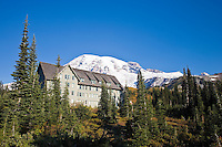 Paradise Inn, built in 1916 and recently renovated in Mount Rainier National Park, WA, USA.