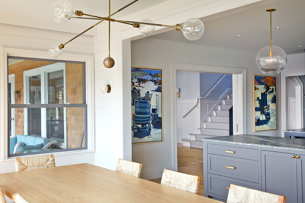 Kitchen and Entrance Way of Rhode Island Coastal Home,  Architecture by Noury-Ello Architects. Interior Design by Christine Lane Interiors