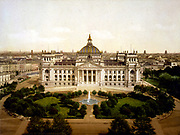 The Reichstag House, Berlin. Germany, c1905. Architecture Portico Columns Fountain Garden Grass Trees