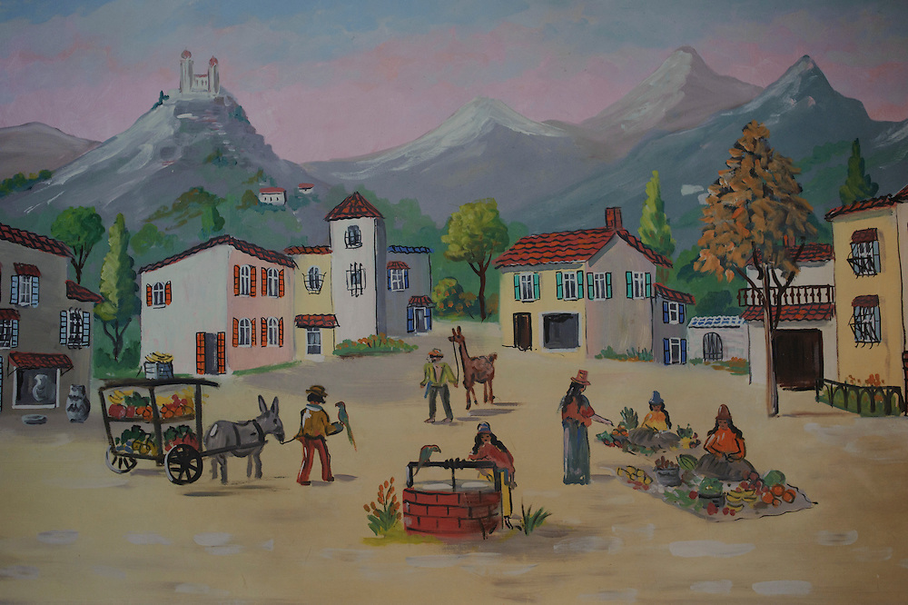 A painting of a Town in Colombia adorns the interior of Casa Vieja, a Latin American Cuisine Restaurant located in Brentwood. (July. 19, 2012)