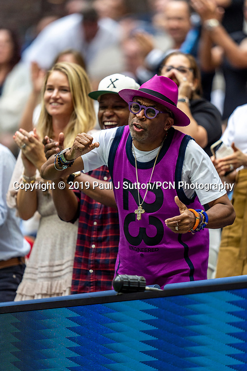 Filmmaker Spike Lee cheering Serena Williams of USA while she is competing in the finals of the Women's Singles at the 2019 US Open Tennis