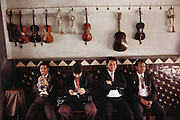 A mariachi group waits for paying customers in a Tlaquepaque bar in Guadalajara, Mexico.